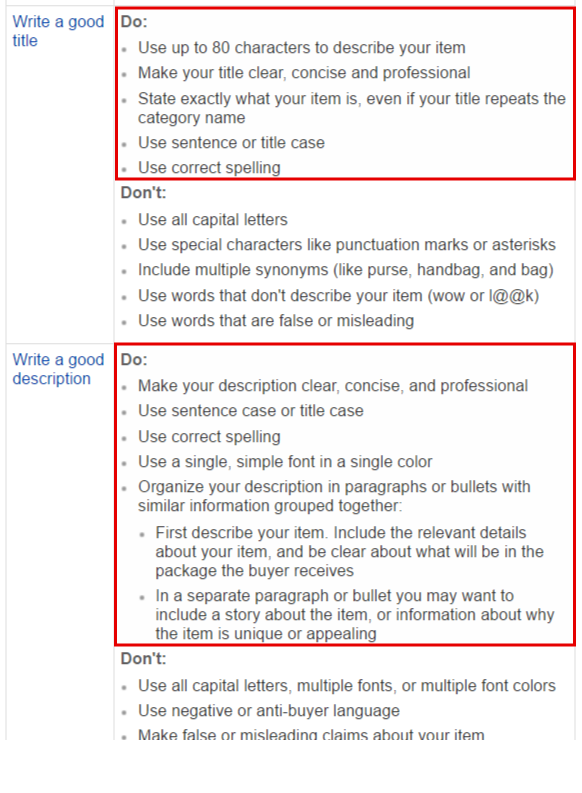 eBay Research Tools And Title/Description Optimization